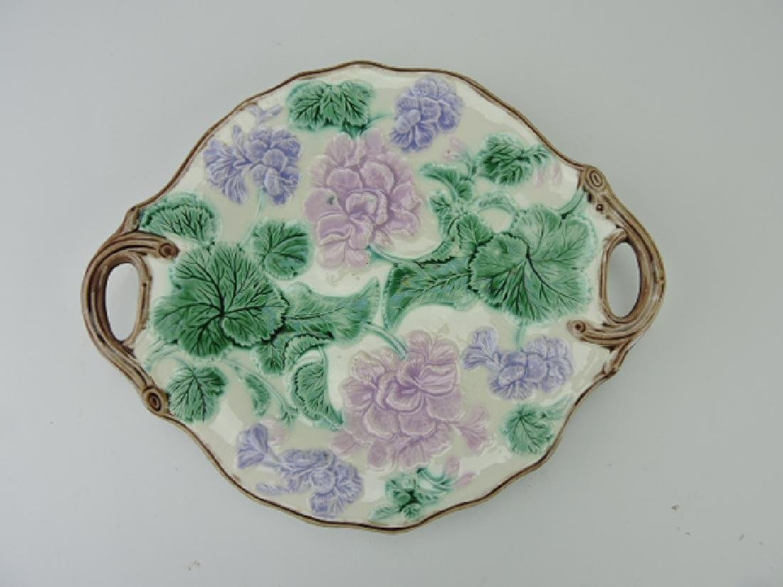 "Etruscan majolica geranium two handled tray, 12"""