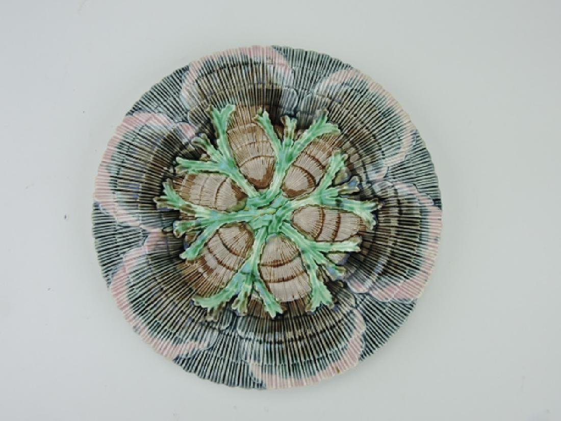 """Etruscan majolica shell and seaweed 9 1/4"""" plate"""