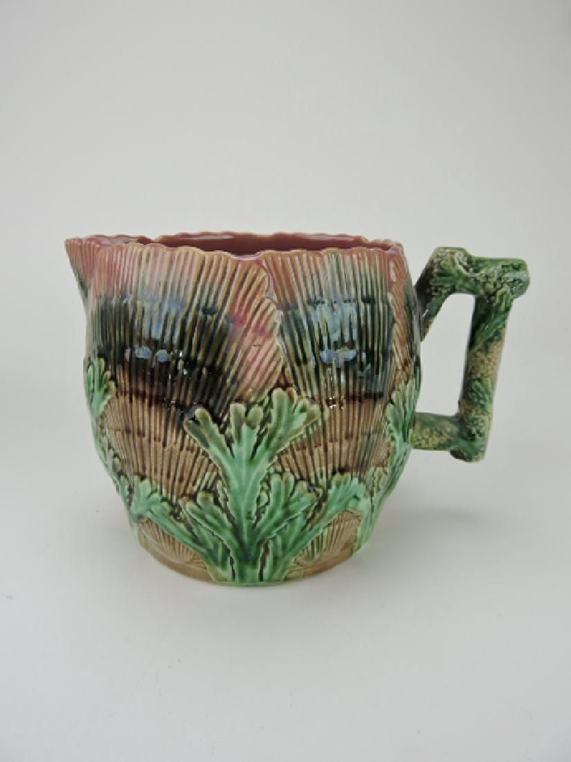Etruscan majolica shell and seaweed pitcher, nice