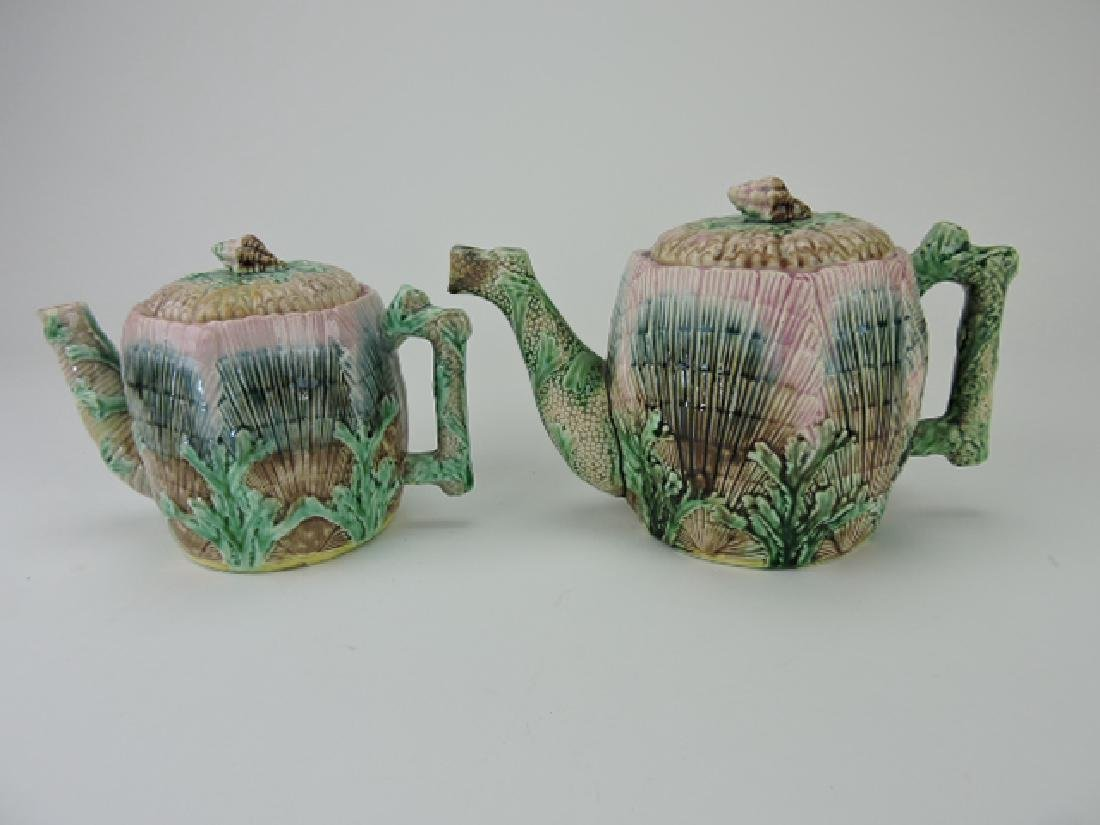 Etruscan majolica shell and seaweed lot of 2