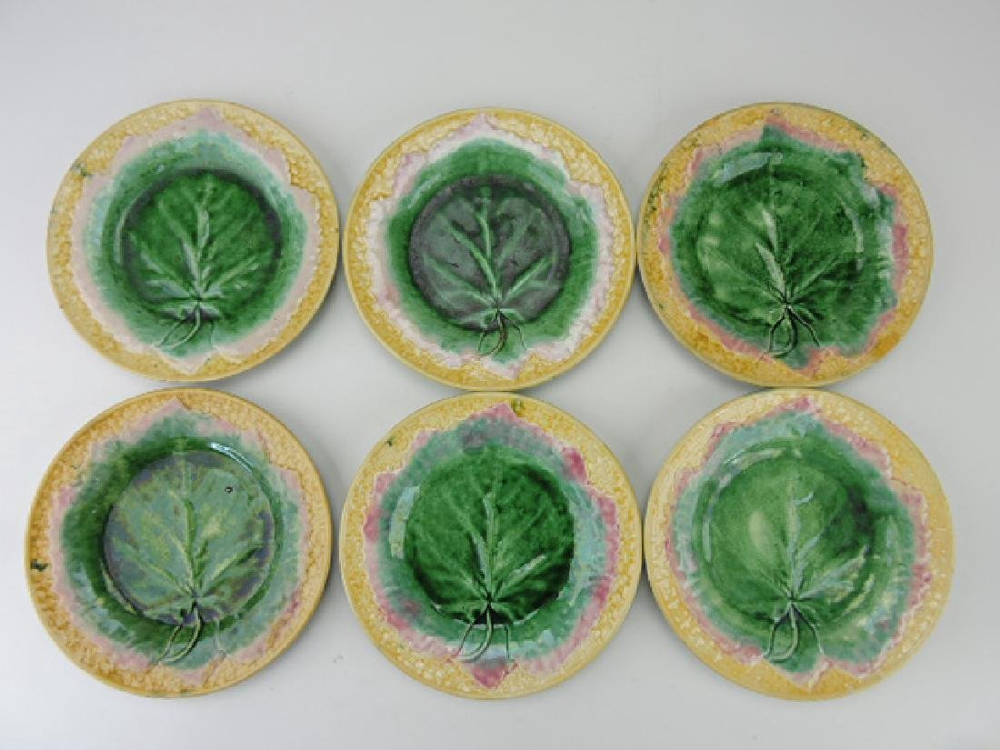 "Etruscan majolica set of 6-9"" maple leaf on basket"