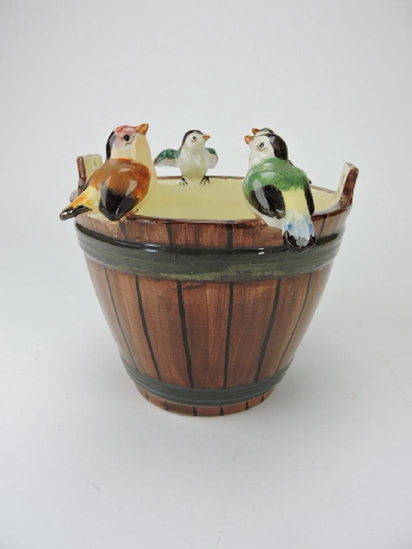 Jerome Massie oaken bucket with 4 birds perched