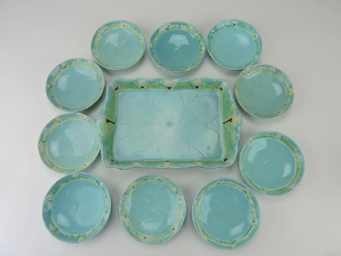 Holdcroft majolica pond lily ice cream set with