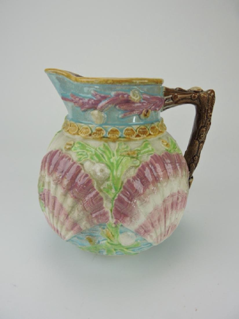 Majolica shells and coral pitcher, rim wear,