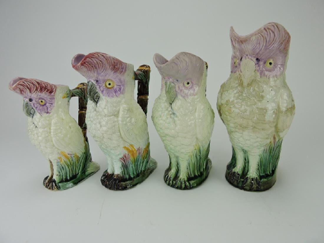 """Majolica lot of 4 figural parrot pitchers, 8"""" to"""
