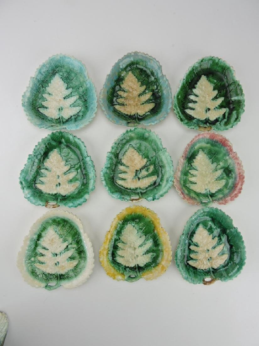 """Majolica set of 9 leaf and fern trays, 7"""", various"""