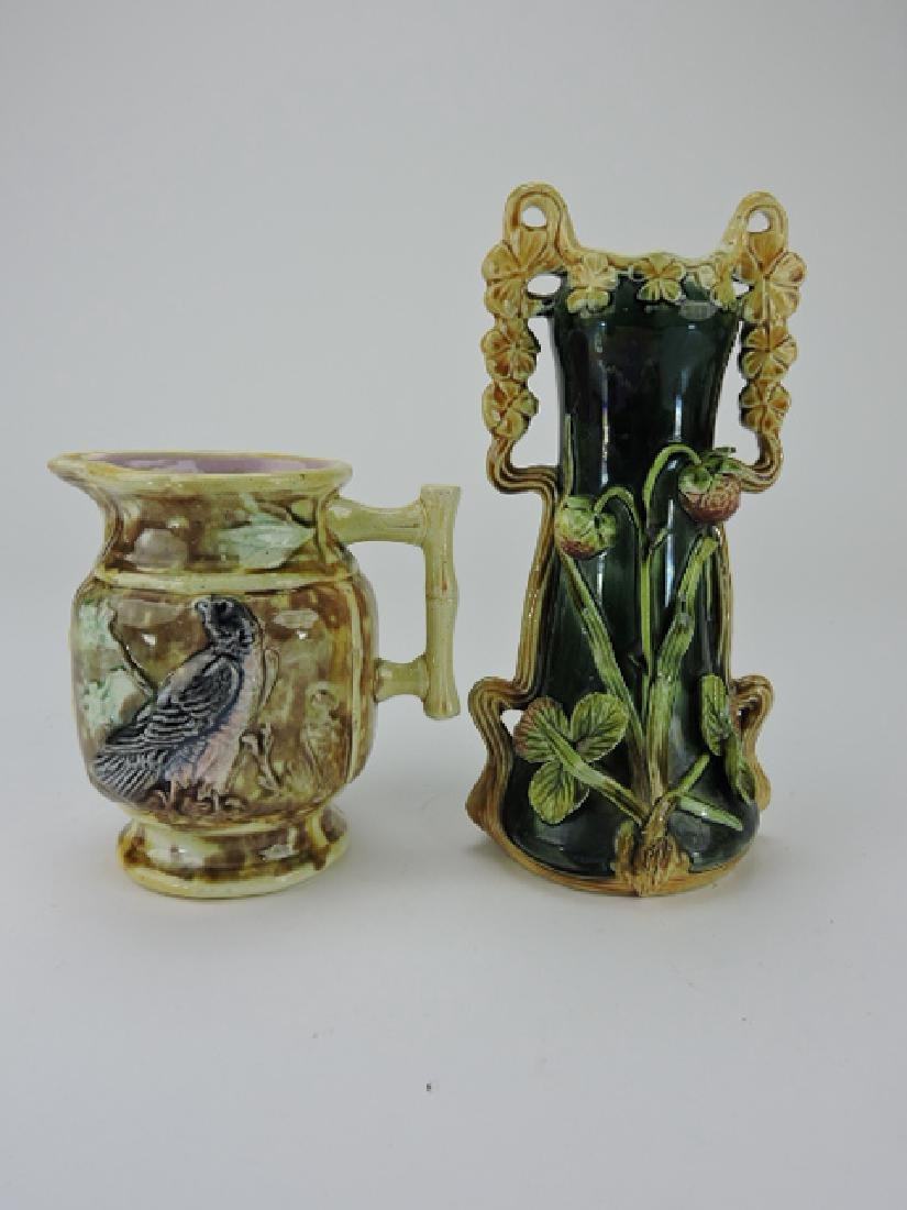 """Majolica eagle pitcher, 5 1/4"""" and strawberry vase"""