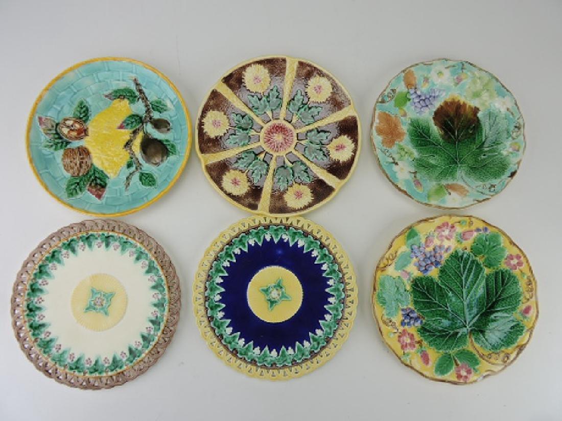 "Wedgwood majolica lot of 6-9"" plates"