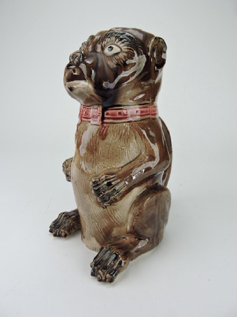 "Majolica pug dog figural pitcher, 11"""