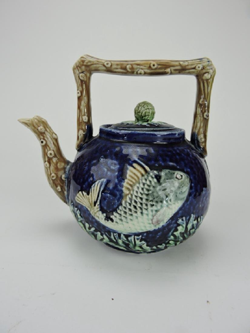 Majolica cobalt tea kettle with fish, 7""