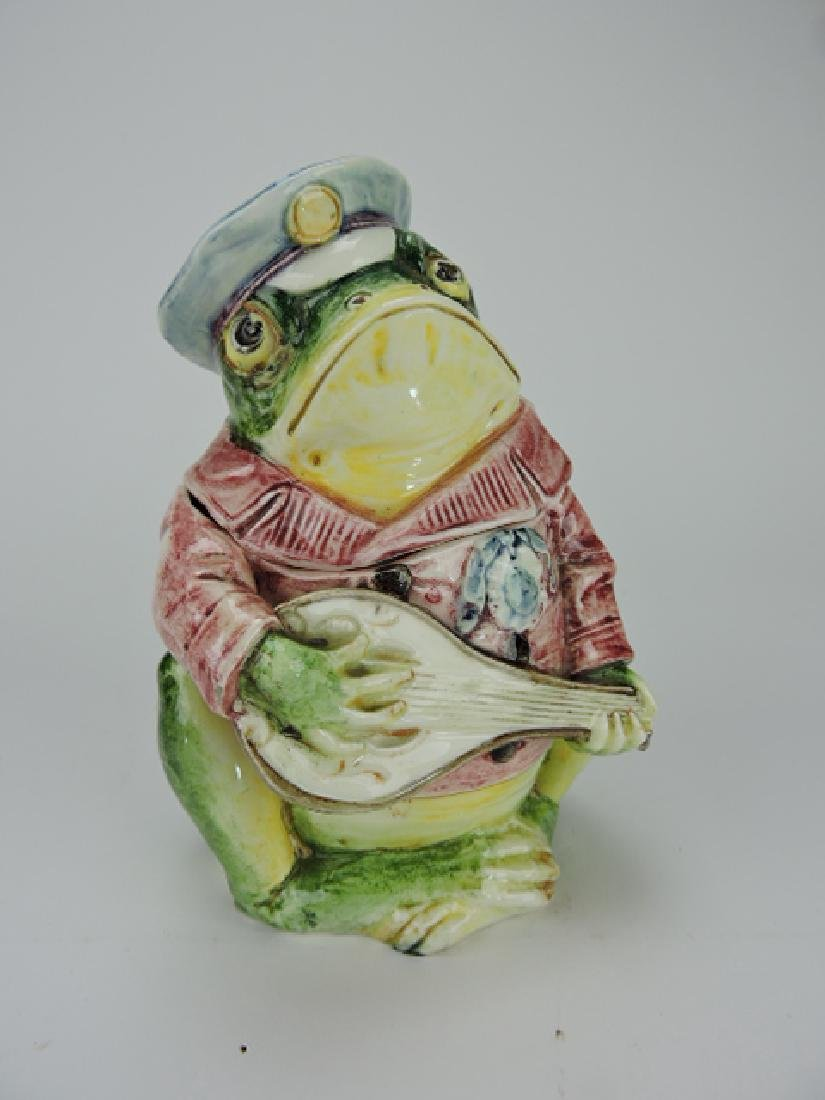 Majolica frog with mandolin and red jacket figural