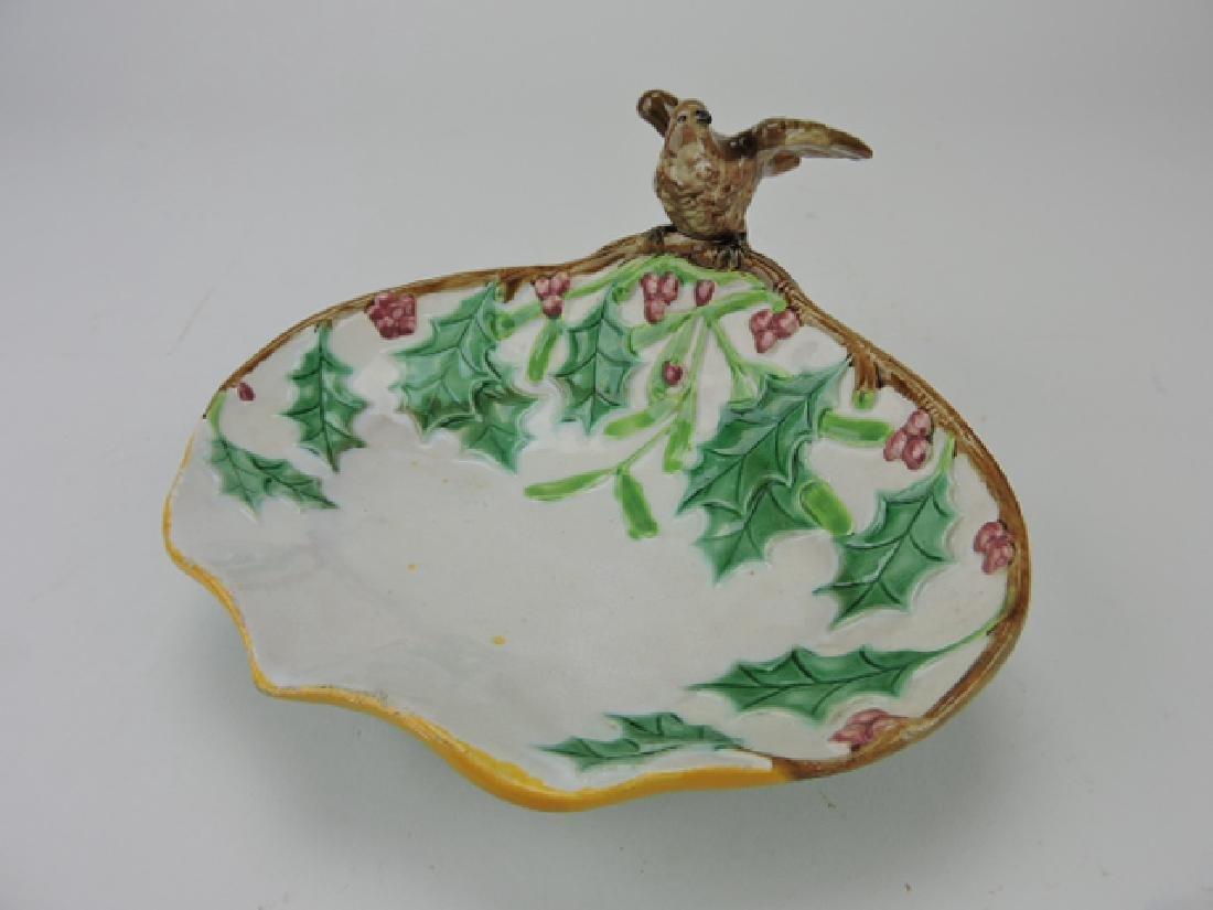 George Jones majolica bird and holly tray,