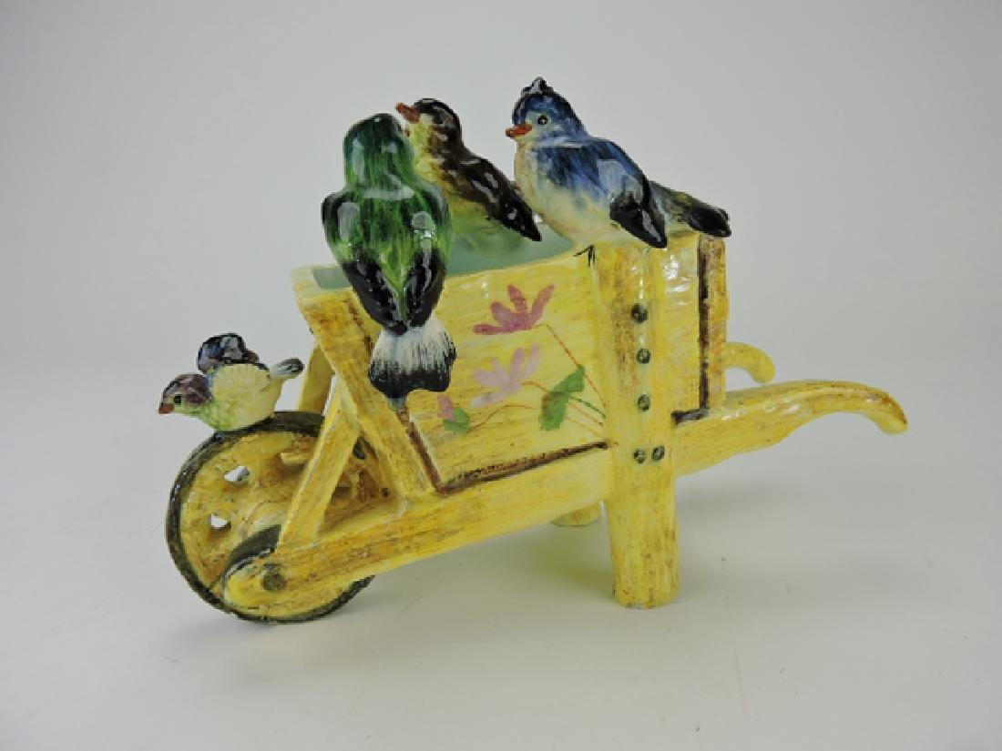 Jerome Massier majolica wheel barrow with