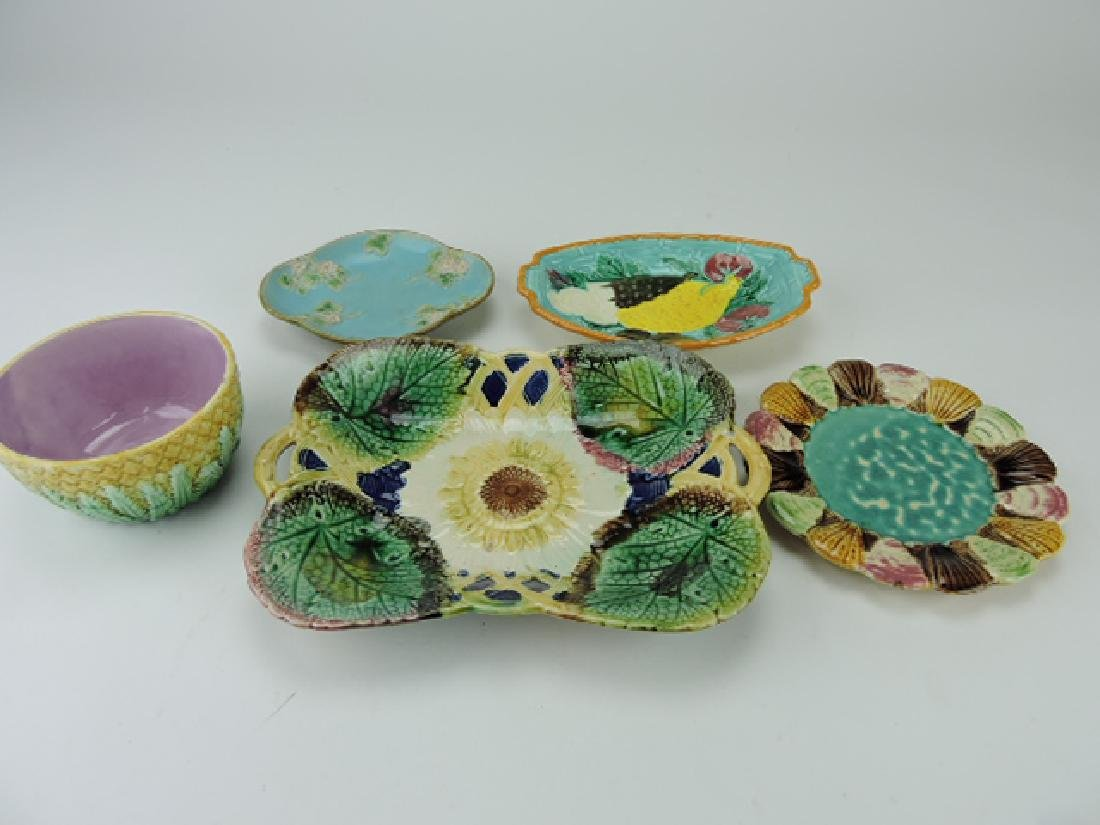 Majolica lot of 5 trays and bowl, vc