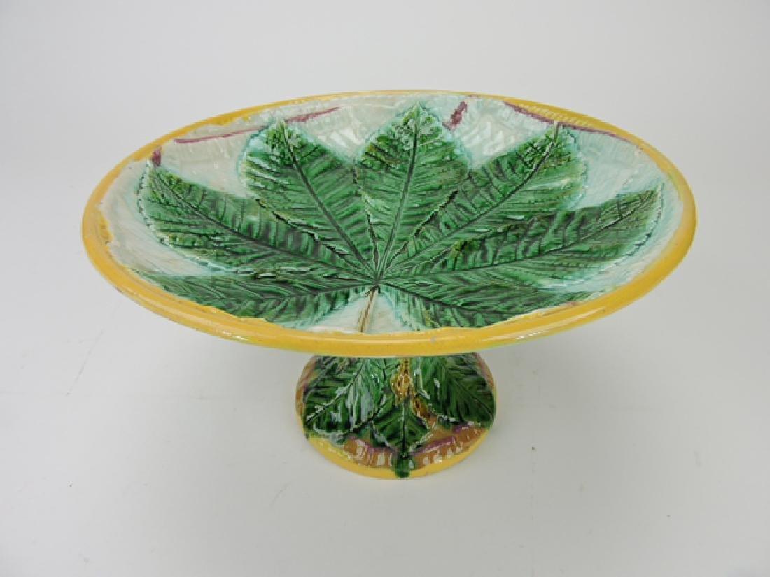 George Jones majolica chestnut leaf on napkin