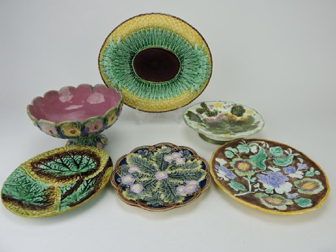 Majolica group-2 compotes, platter and 3 plates,