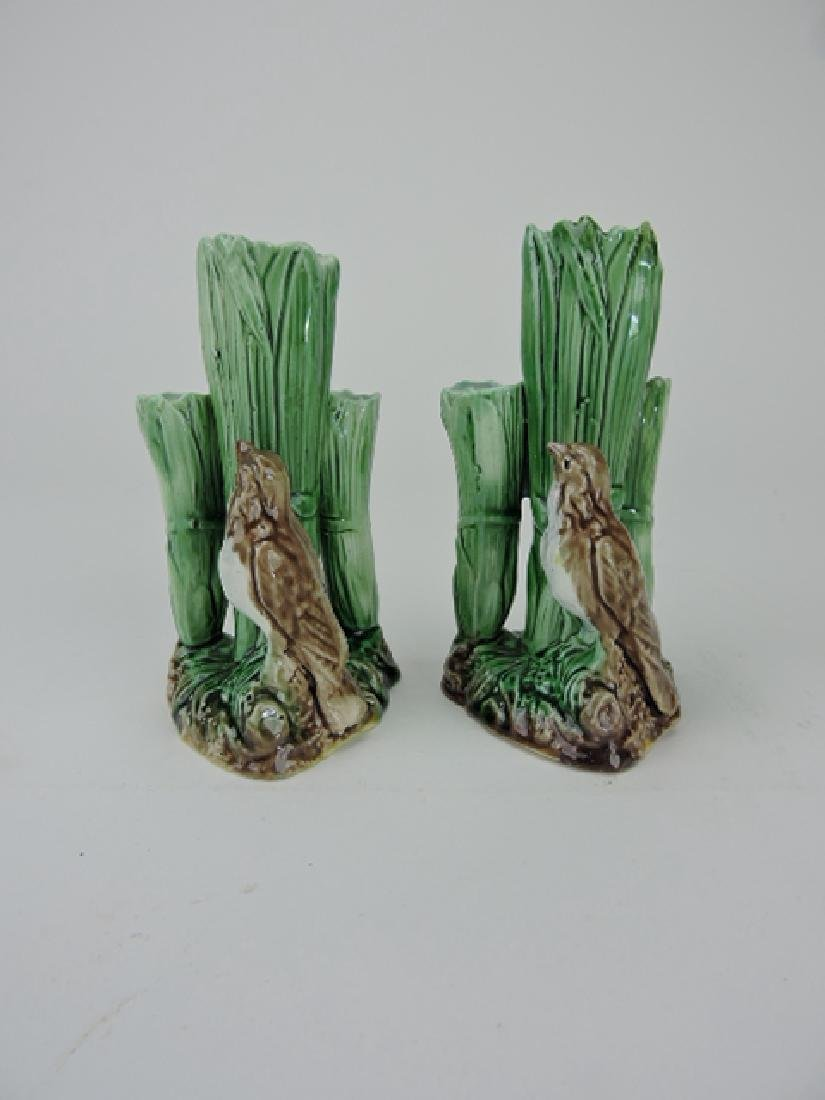Majolica pair of triple hole bud vases with bird,