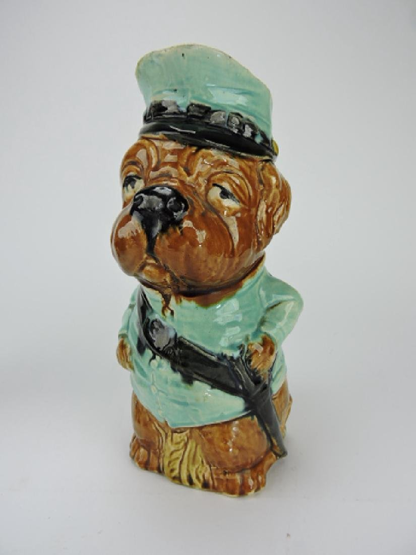 French majolica figural dog policeman pitcher,