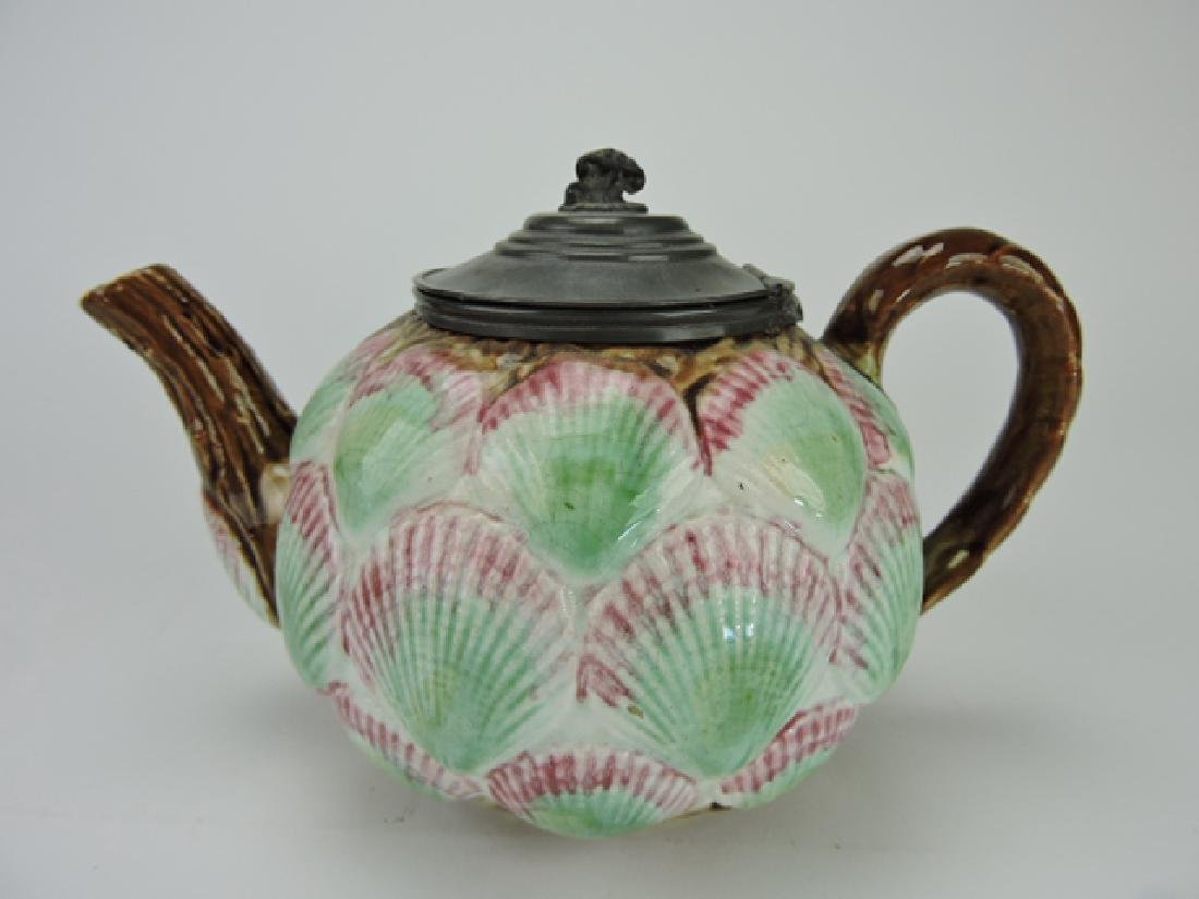 """Majolica shells teapot with pewter lid, 5""""h"""