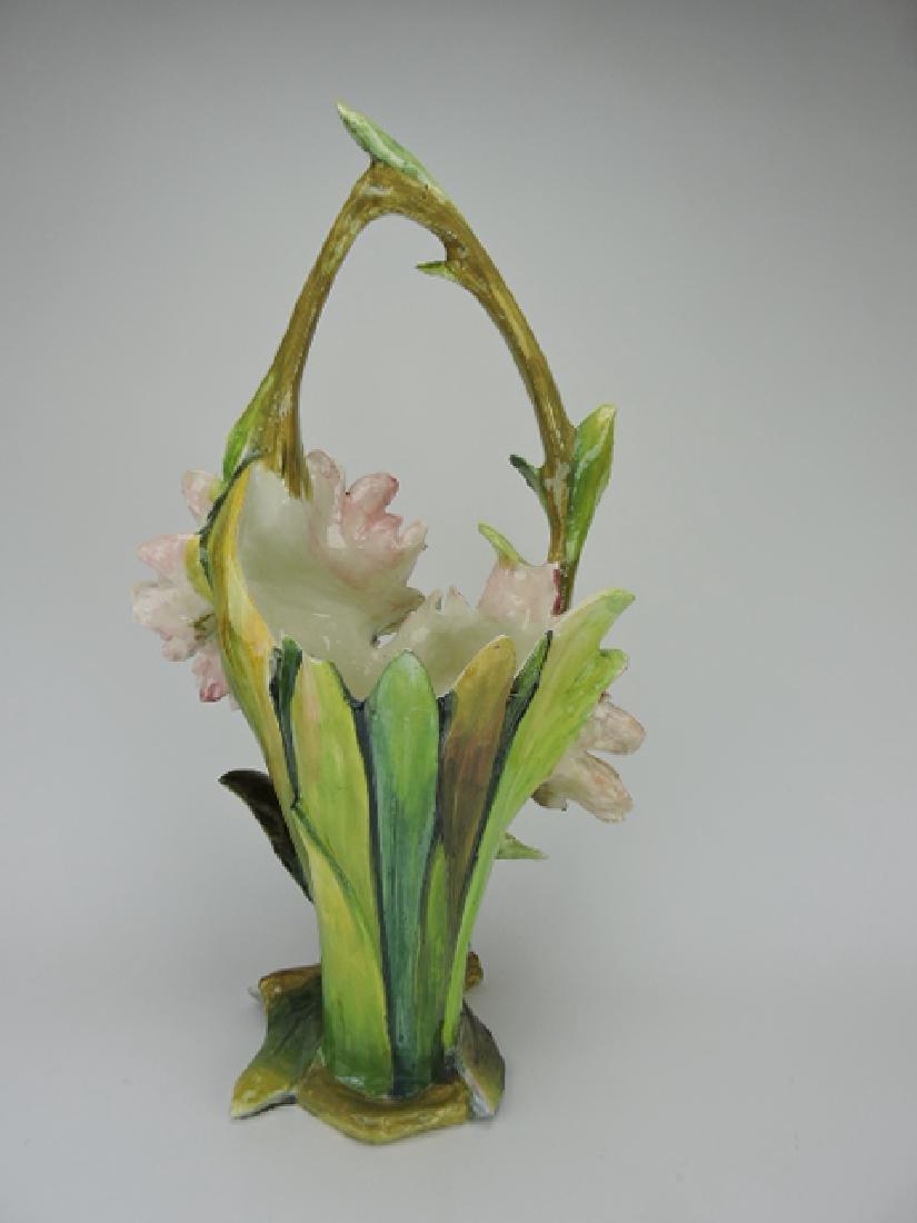 """Massier monumental flower form basket, 28""""h, - 2"""
