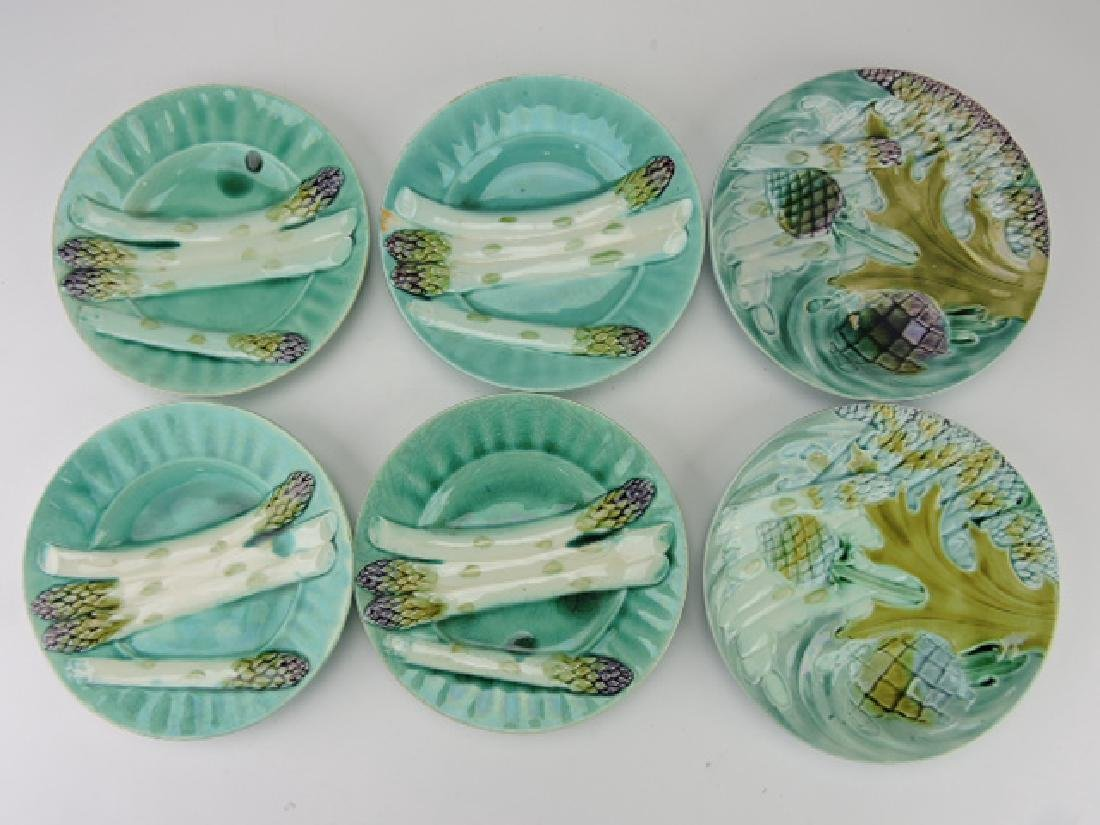 Majolica lot of 6 asparagus plates, various