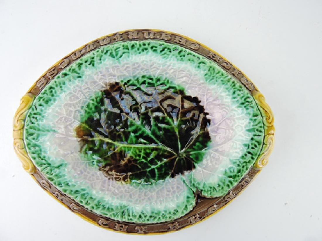 """Majolica begonia bread tray, 12 1/2"""""""