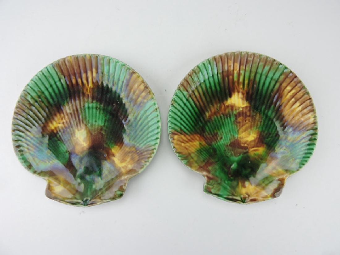 "Wedgwood pair of majolica shell plates, 8 1/2"","