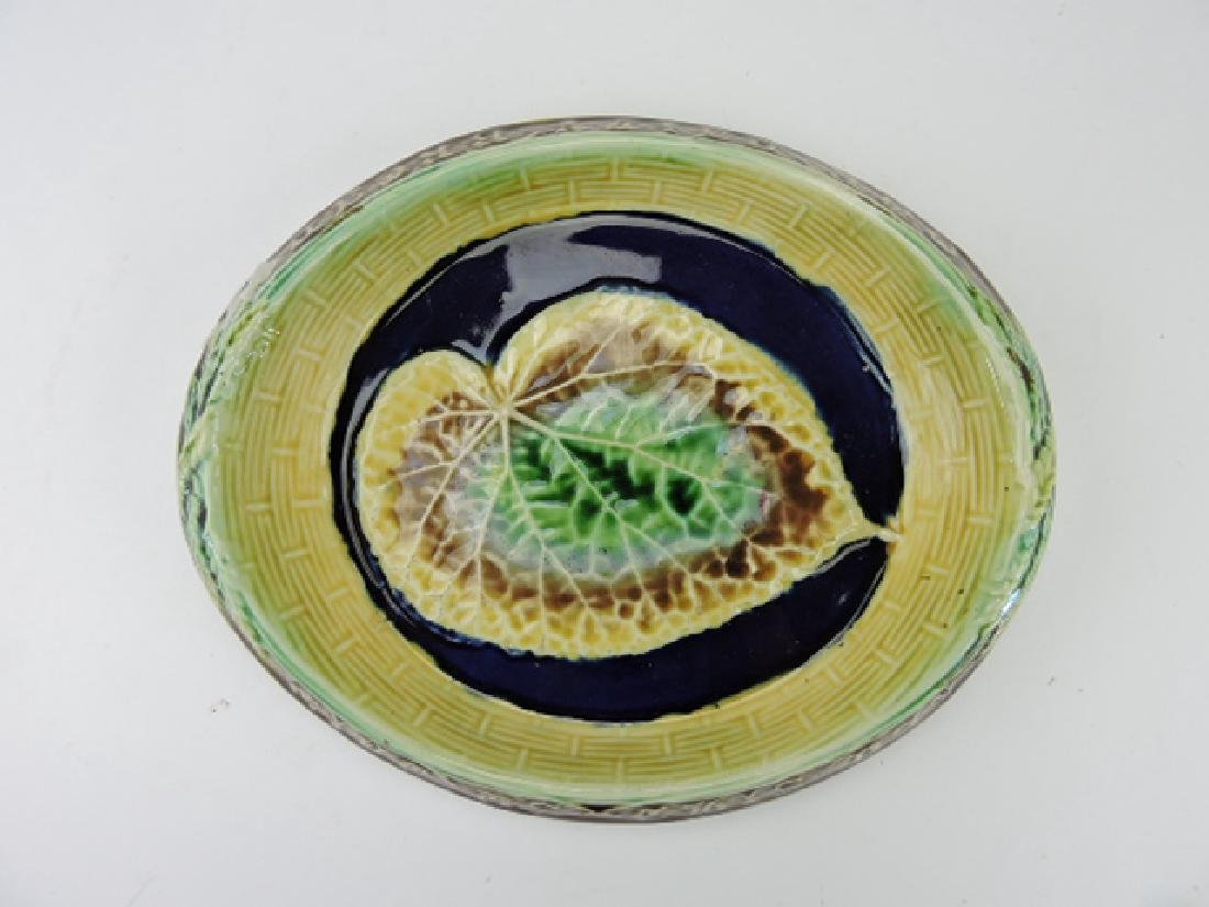 Majolica begonia leaf on cobalt ground bread tray,