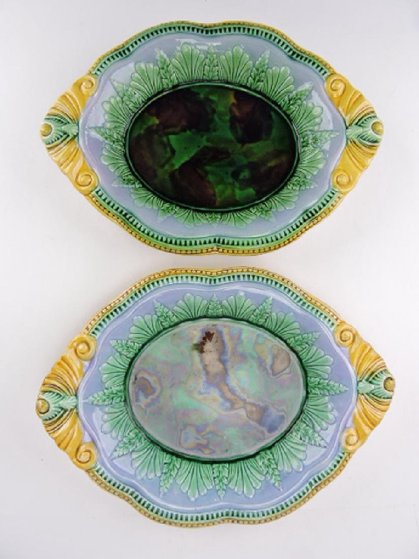 Majolica pair of leaf and fern trays with