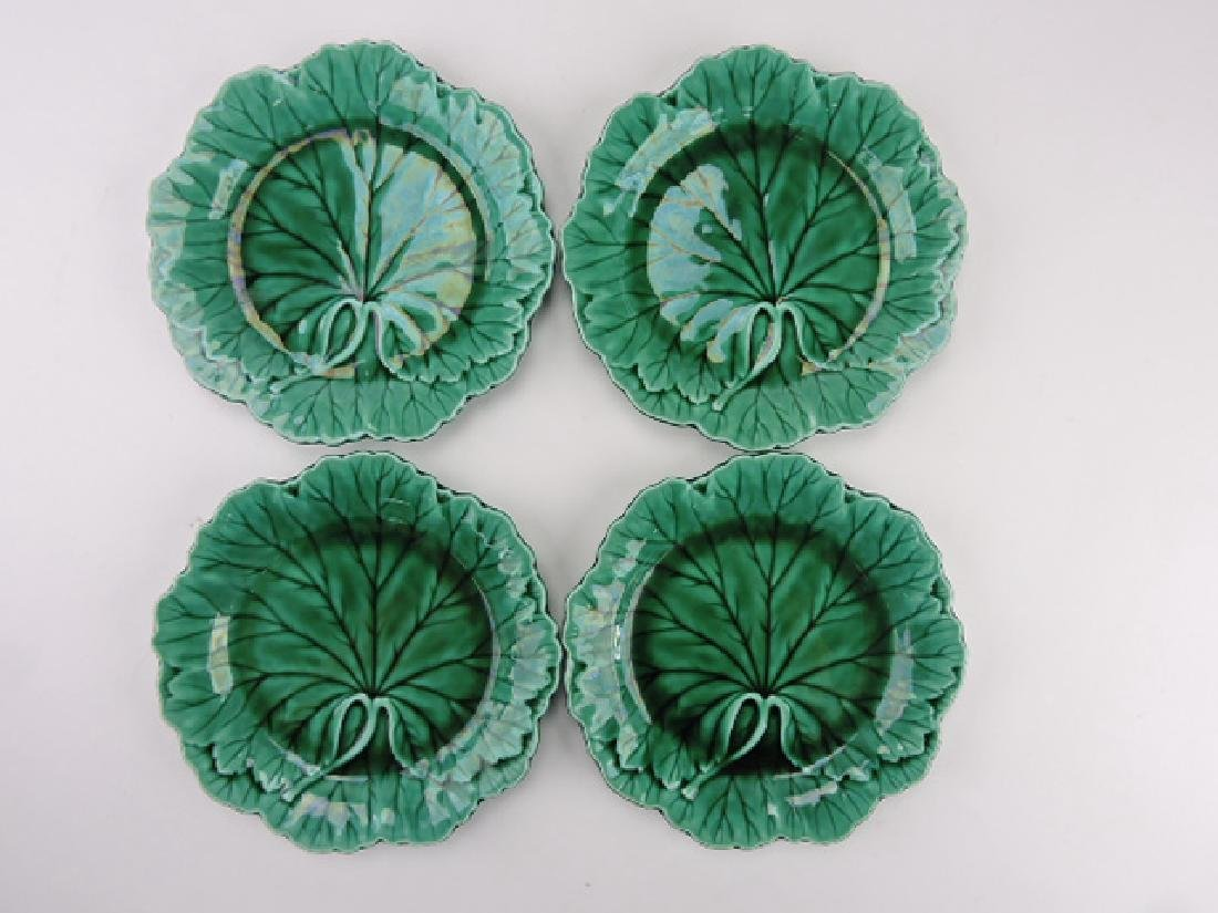 "Wedgwood dark green majolica set of 4-8"""