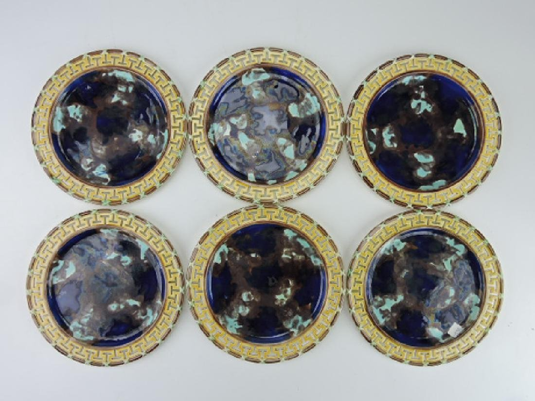 "Wedgwood majolica set of 6-8 3/4"" plates, with"