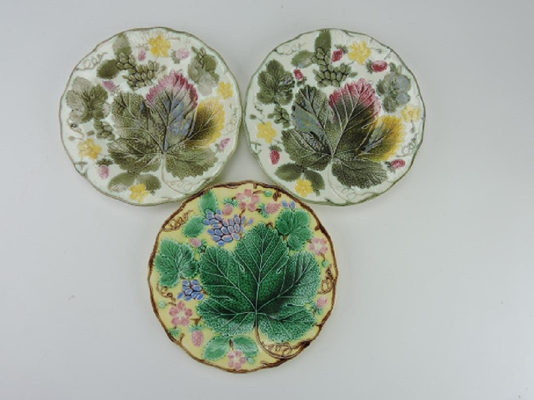 Wedgwood majolica lot of 3 grape and strawberry