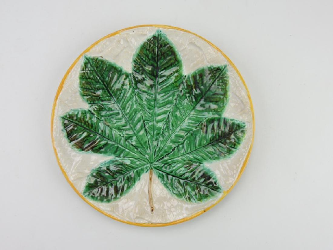 "George Jones majolica chestnut leaf on napkin 9"""