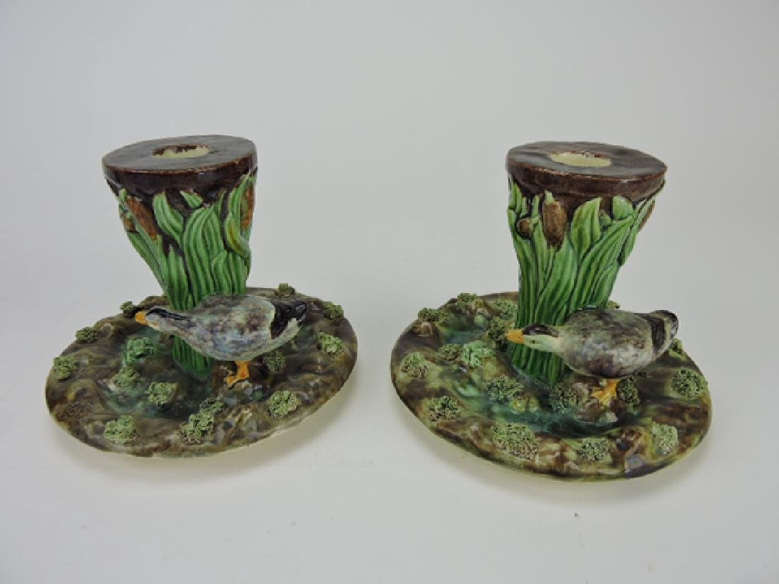 Portugal Palissy pair of candle holders with