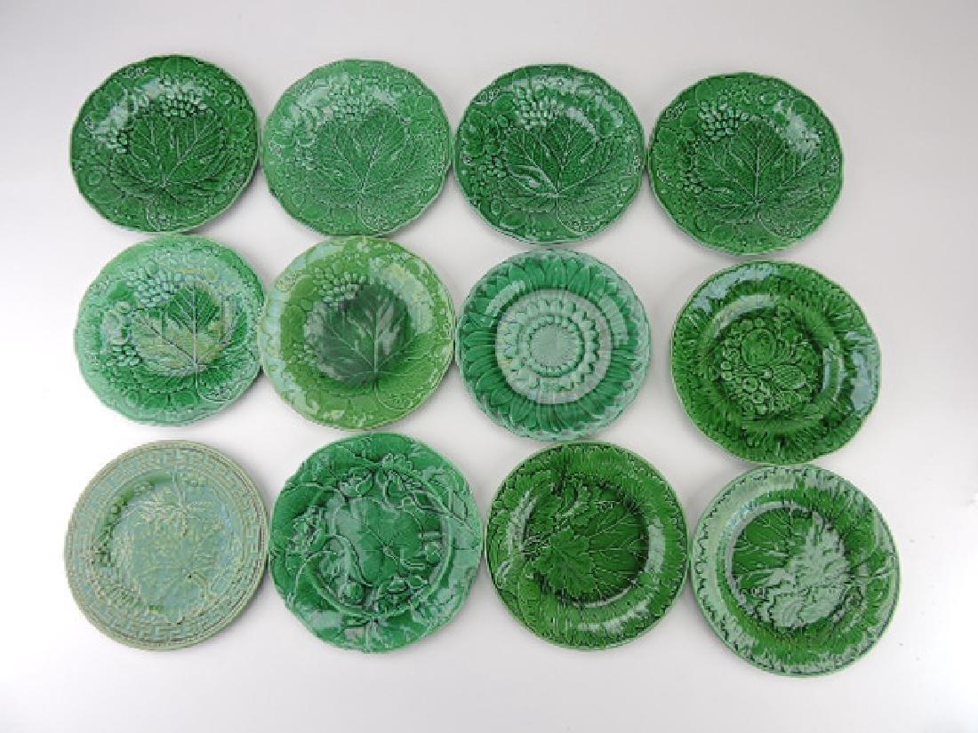 Dark green majolica lot of 12 plates some