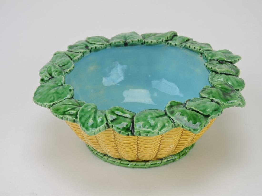 Minton majolica basketweave bowl with leaf rim,