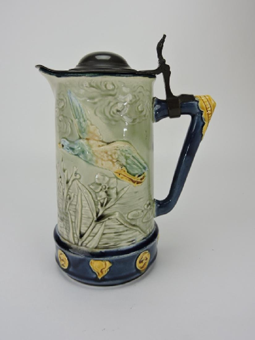 Choisy-le-Roi majolica pitcher with ducks and