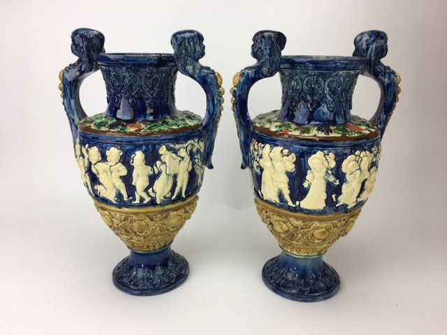 Majolica pair of Palissy style classical vases