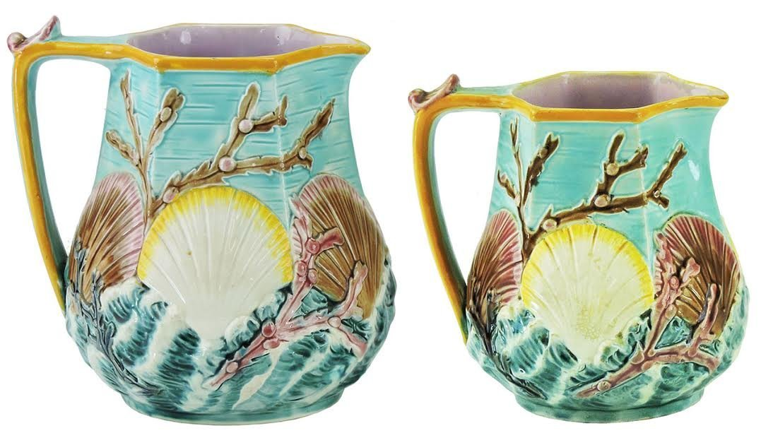 "Two Wedgwood Majolica ""Ocean""™ Pitchers c.1875,"