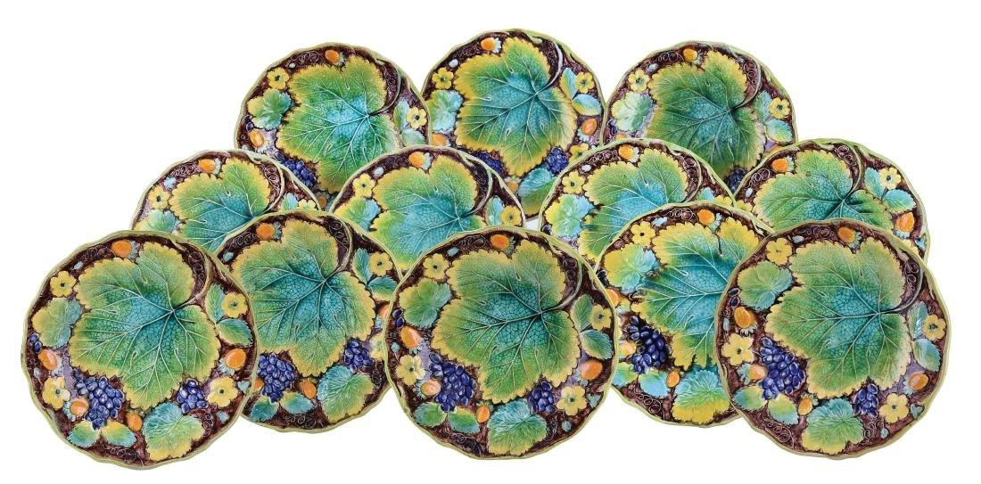 Twelve Rare Alcock & Co. Majolica Dessert Plates