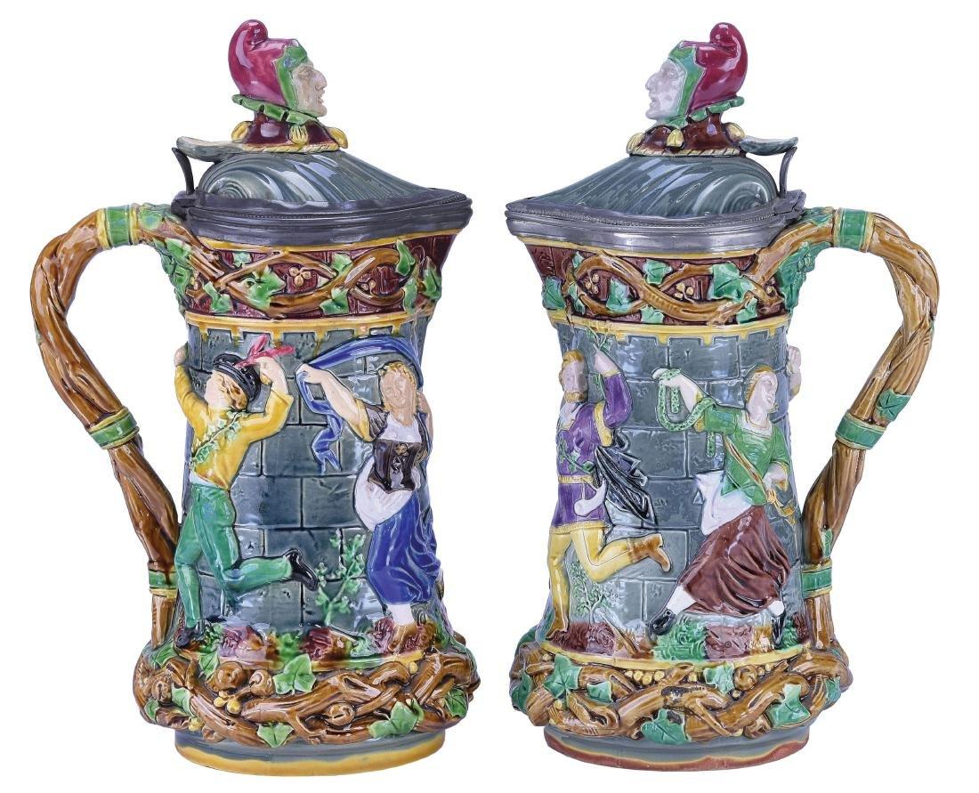 "Two Minton Majolica ""Tower""™ Jugs c.1865"