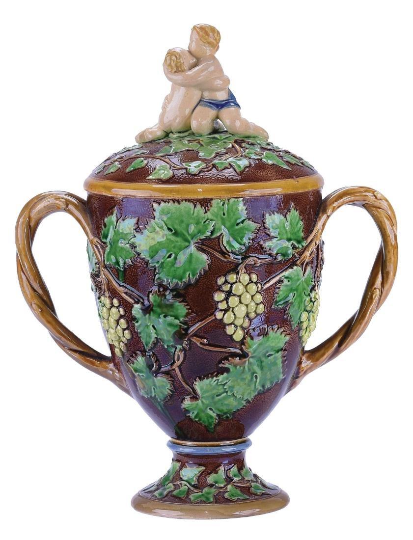 Minton Majolica Loving Cup & Cover, c.1860