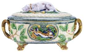 Large Minton Majolica Gun Dog Game Tureen