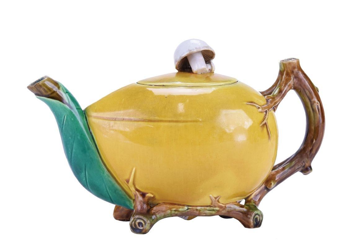 "Rare Minton Majolica ""Mushroom and Coconut""™ Teapot"