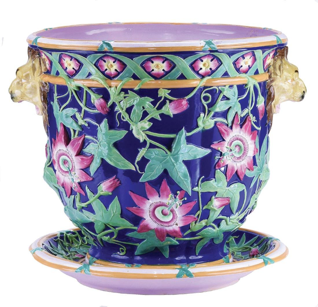 Large Minton Passion Flower Jardiniere & Stand