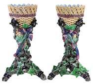 Rare Pair of Hugo Lonitz Majolica Basket Vases