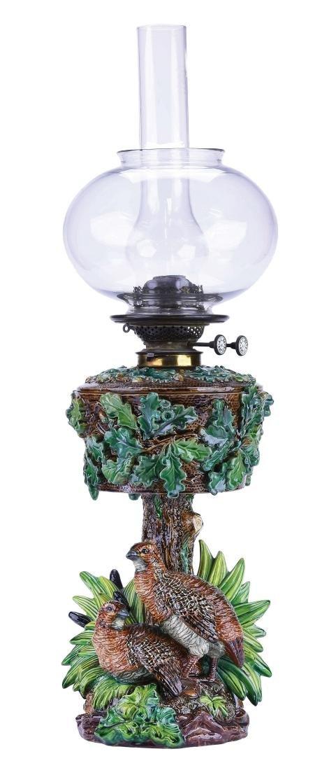 Very Rare Hugo Lonitz Majolica Oil Lamp c.1875.