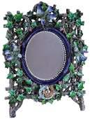 Rare Hugo Lonitz Majolica Mirror c. 1875,