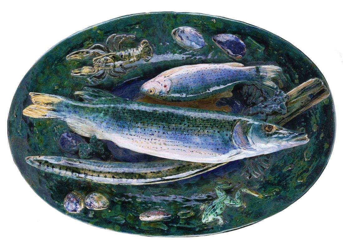 """Monumental Alfred Renoleau """"Palissy""""™ Plaque Signed"""