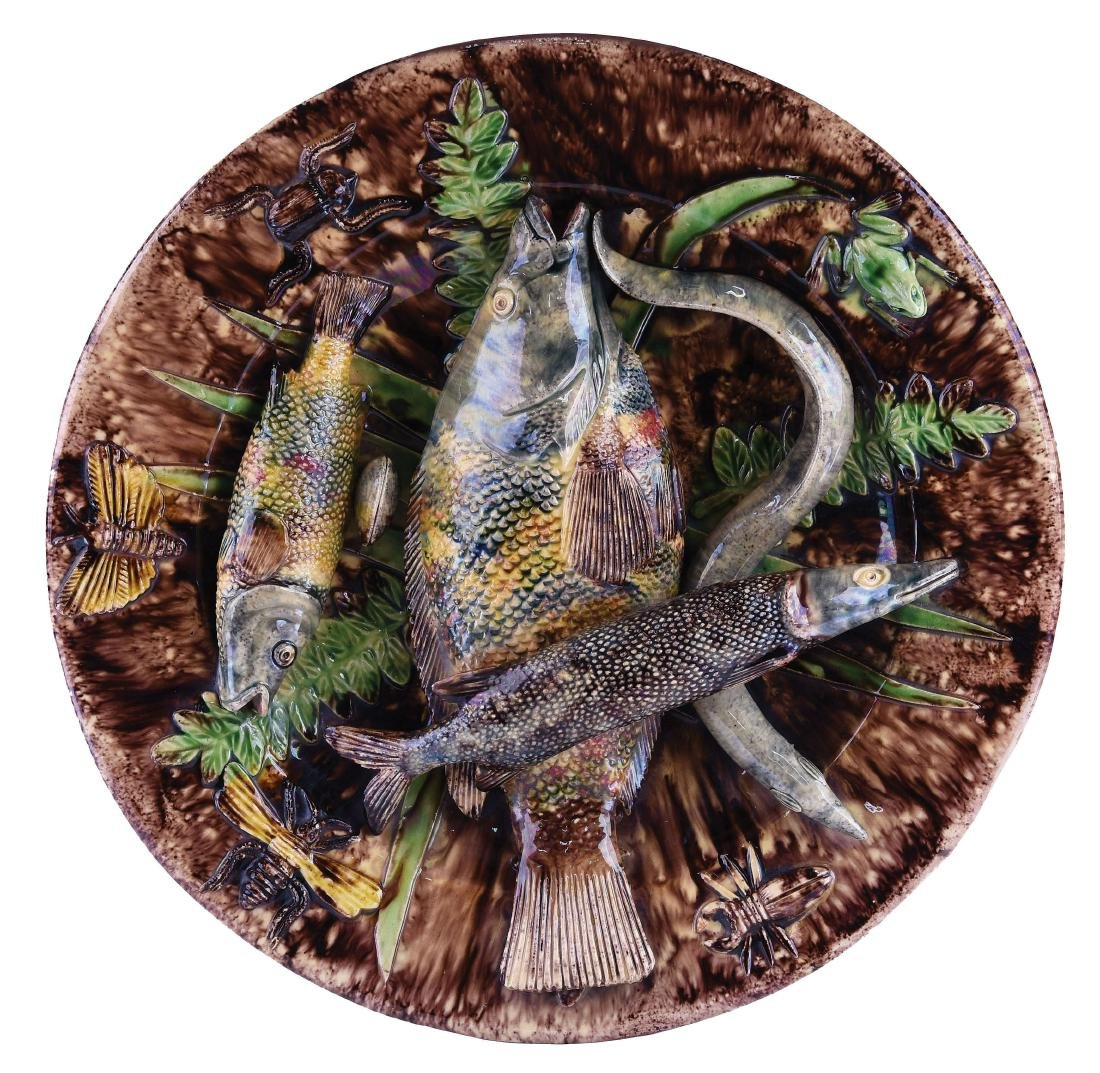 Large Jose Cuhna Majolica Palissy Fishes Plaque